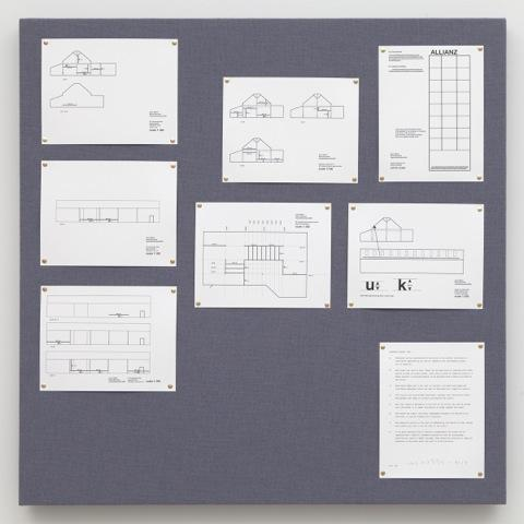 Liam Gillick <i>Pinboard Project (Blue Gray)</i> 2013 Chipboard, dyed jute, wood, screws, printed Ingres paper, various papers 39.5 x 39.5 inches