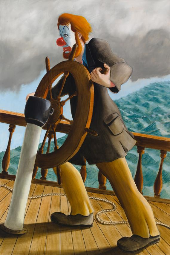 <i>Around the World Alone (Push on Able Seaman Push On)</i> 2011 Oil on linen 80 x 54 inches
