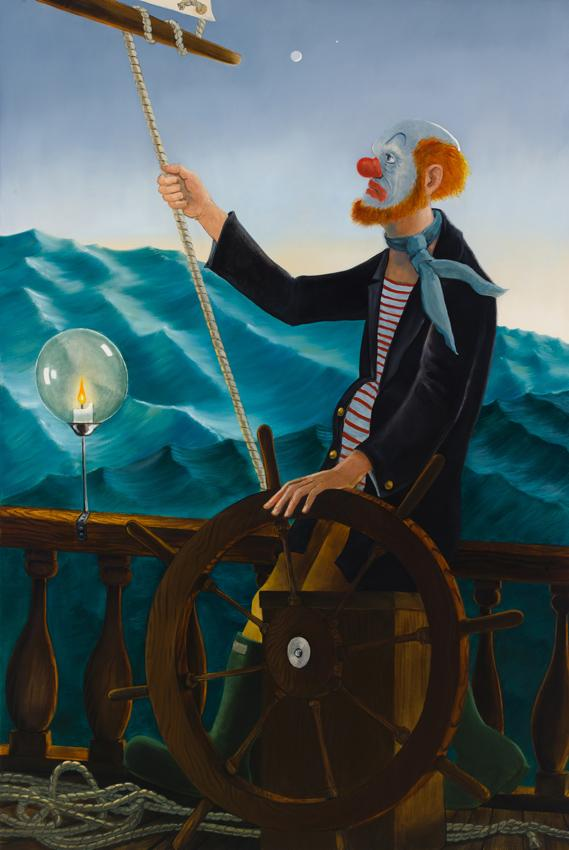 <i>Around the World Alone (Venerable Seafarer - Dusk)</i> 2011 Oil on linen 80 x 54 inches