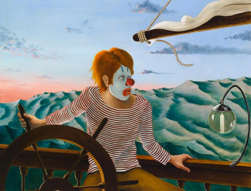 <i>Around the World Alone (Boy Skipper - Dawn)</i> 2011 Oil on linen 52 x 68 inches