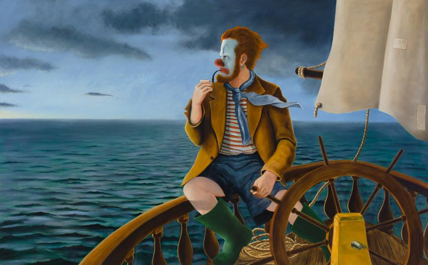 <i>Around the World Alone (Lord of the Seas)</i> 2011 Oil on linen 78 x 126 inches