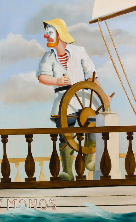 Around the World Alone (Helmsman Maintaining Course) 2011 Oil on linen 126 x 78 inches