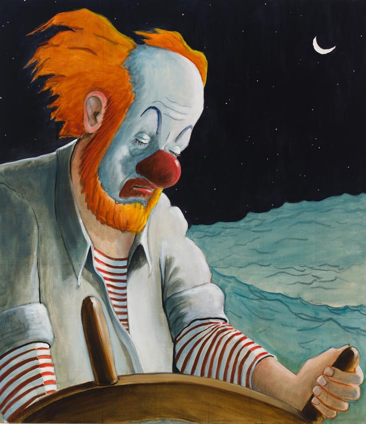 Around the World Alone (Waxing Moon Torpor) 2011 Oil on linen 32 x 28 inches