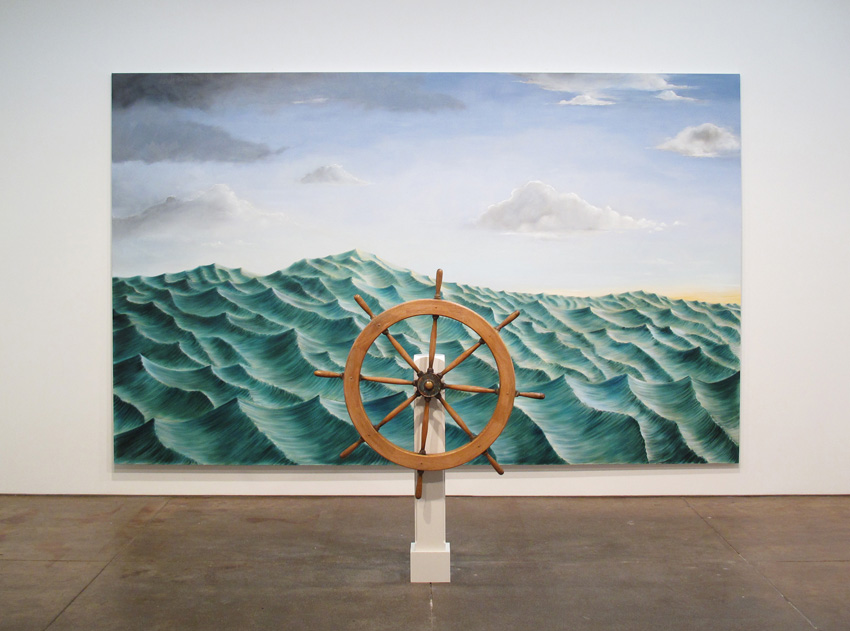 <i>Around the World Alone (Epilogue 1)</i> 2011 Captain's wheel: wood, brass, bronze; Oil on linen