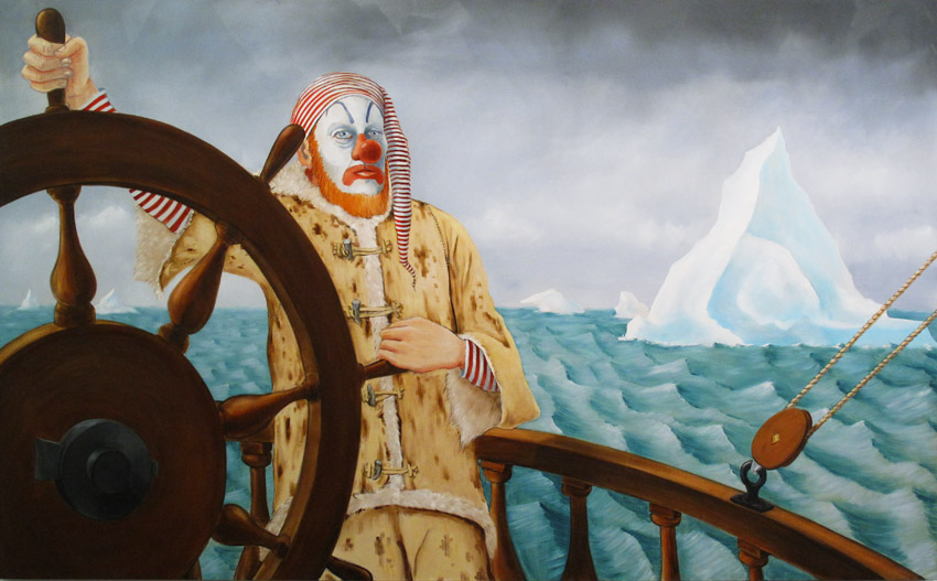 Around the World Alone (Arctic Endurance) 2011 Oil on linen 78 x 126 inches