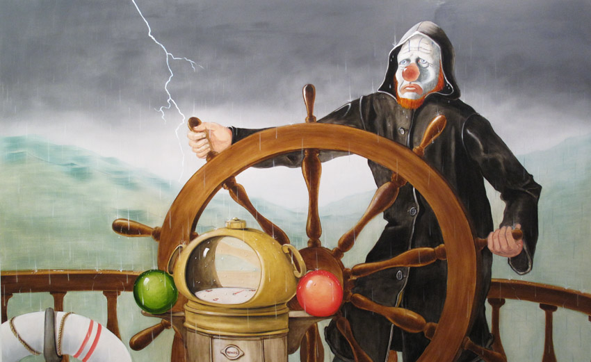 <i>Around the World Alone (Force Ten Stalwart)</i> 2011 Oil on linen 78 x 126 inches