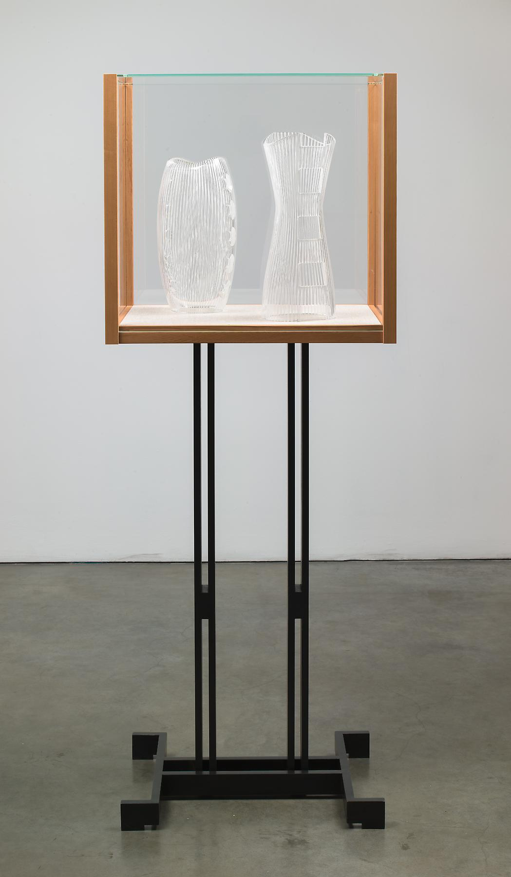 Josiah McElheny <i>Models for an abstract body (after Courrèges)</i> 2012 Patinated cold-roll steel, cedar wood, low iron glass, hand blown and carved glass 65 3/8 x  24 1/2 x 17 1/2 inches