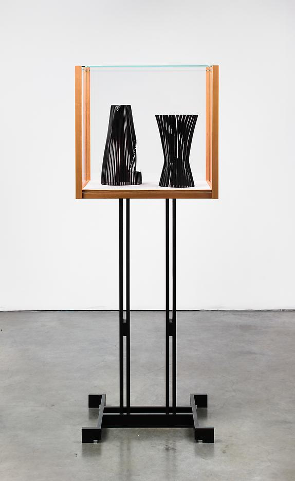 Josiah Mcelheny <i>Models for an abstract body (after Delaunay and Malevich)</i> 2012 Patinated cold-roll steel, cedar wood, low iron glass, hand blown and carved glass 65 3/8 x  24 1/2 x 17 1/2 inches