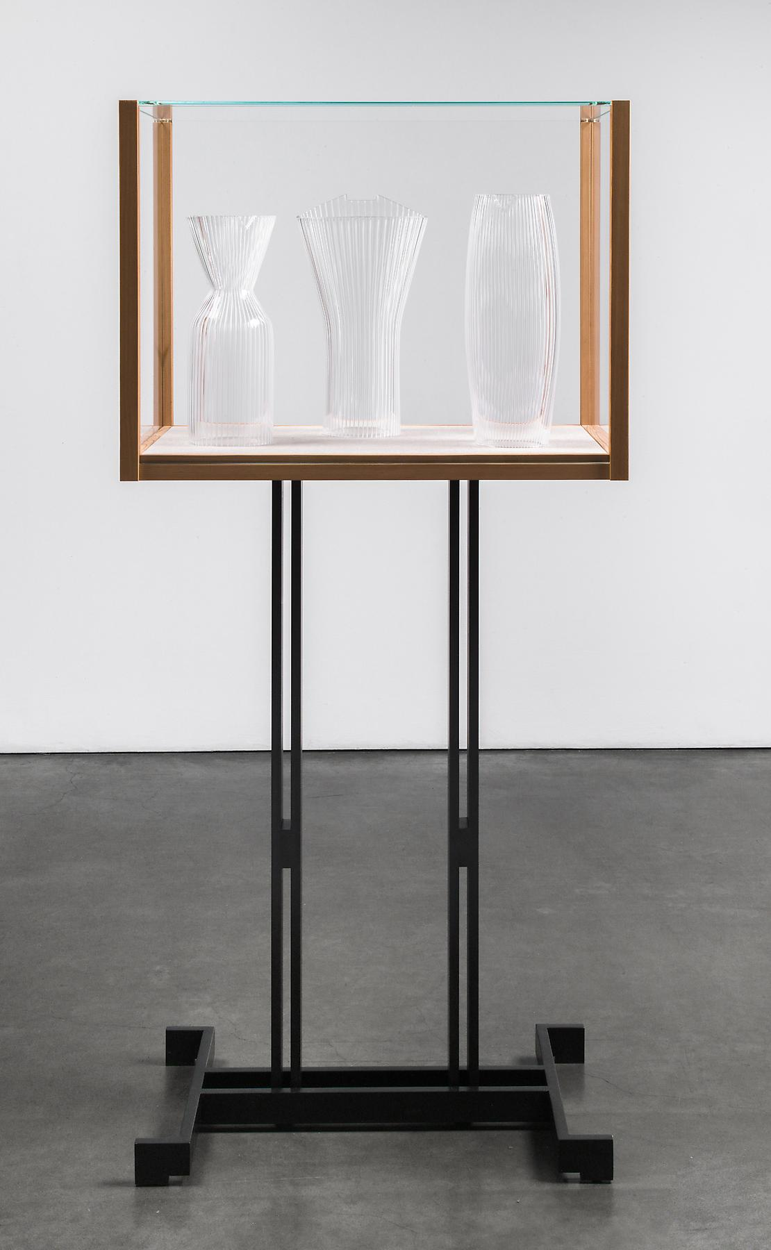 Josiah McElheny <i>Models for an abstract body (after Stepanova)</i> 2012 Patinated cold-roll steel, cedar wood, low iron glass, hand blown and carved glass 65 3/8 x 30 1/2 x 19 9/16 inches