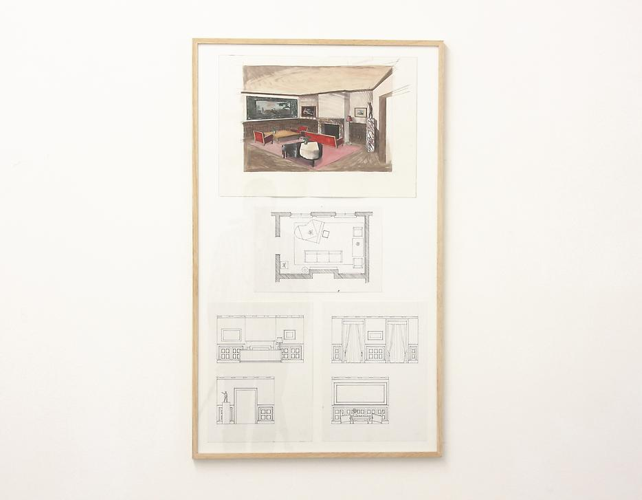 Lucy McKenzie <i>Project for a Nazi Living Room</i> 2012 4 drawings: pencil, ink, aquarelle on paper 25.39 x 42.32 inches
