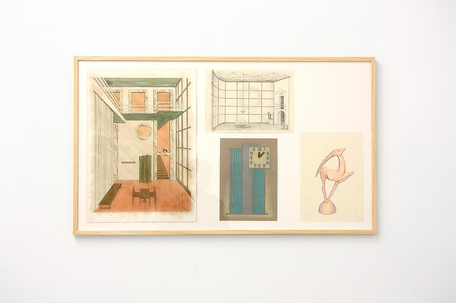 Lucy McKenzie <i>Project for an Objectivist Hallway</i> 2012 4 drawings: pencil, colored pencil, aquarelle on paper 39.37 x 23.23 inches