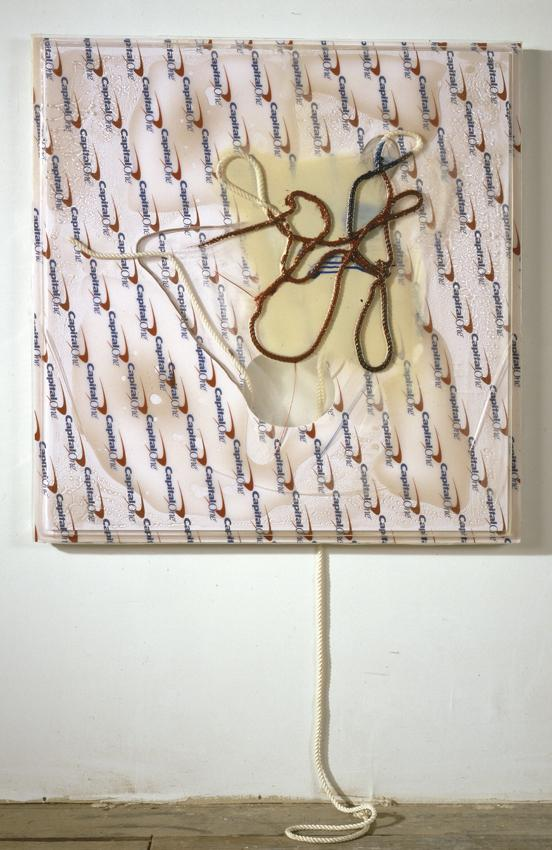 Seth Price <i>As Catsup Becomes Ketchuo and Victuals Becomes Vittles</i> 2012 Acrylic and enamel paint, tinted resin, printed PETG vacuum-formed over knotted rope, printed gatorboard