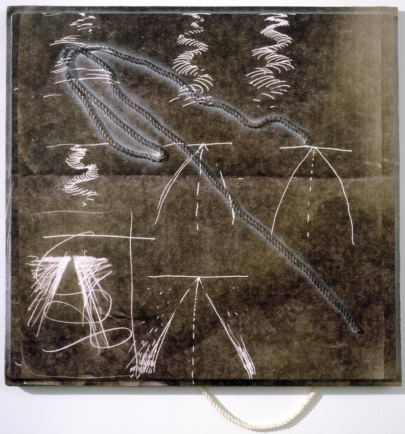 Seth Price <i>Slipshod Folkway</i> 2010 UV-cured inkjet on polystyrene vacuum-formed over knotted rope
