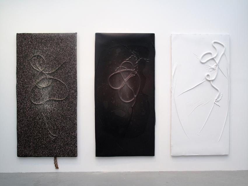 Seth Price Soft History 2012 Triptych: UV-cured inkjet on polystyrene vacuum-formed over knotted ropes