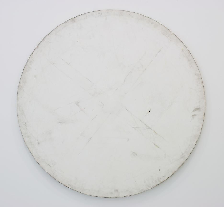 Karin Sander <i>Mailed Painting Bonn-Gmuden-New York</i> 2007 White primed canvas Diameter 59.06 inches