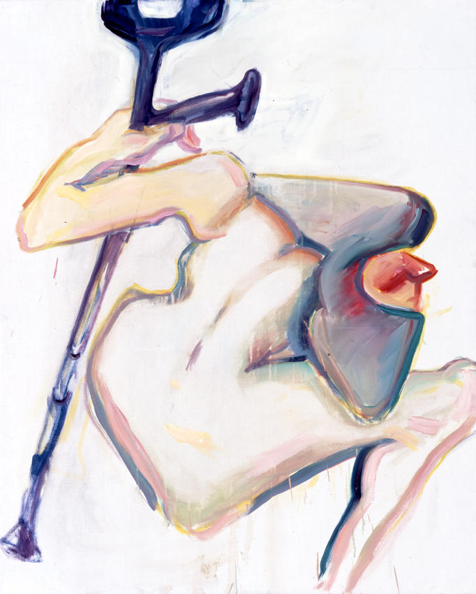<i>Untitled (One Crutch)</i> 2005 Oil on canvas 49.21 x 39.37 inches