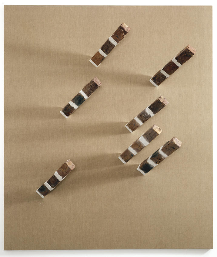 Georg herold: Delivering the WOW 2005 bricks on canvas 94.5 x 80.7 inches/240 x 205 cm