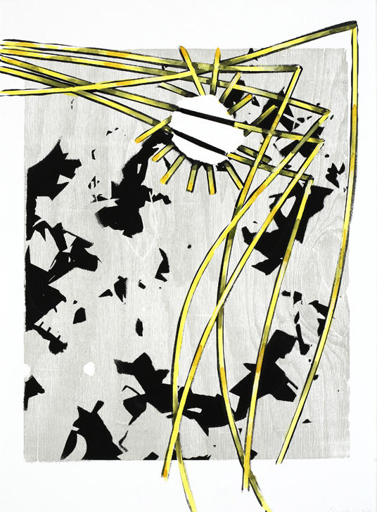 Untitled 2007 silkscreen, woodcut, gouache watercolor on paper 30.125 x 22.5 inches/76.5 x 57.2 cm