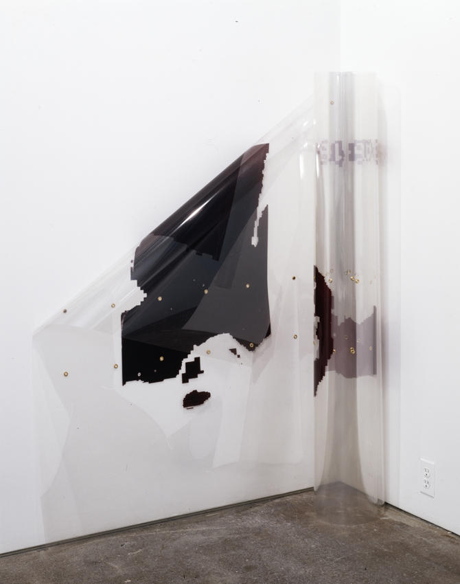 Seth Price: Untitled 2005 eyelets, plastic inks, plastic film dimensions variable