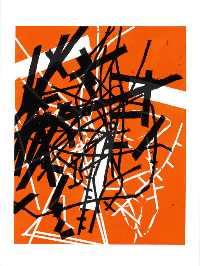 Untitled 2007 acrylic, woodcut on paper 30.125 x 22.5 inches/76.5 x 57.2 cm