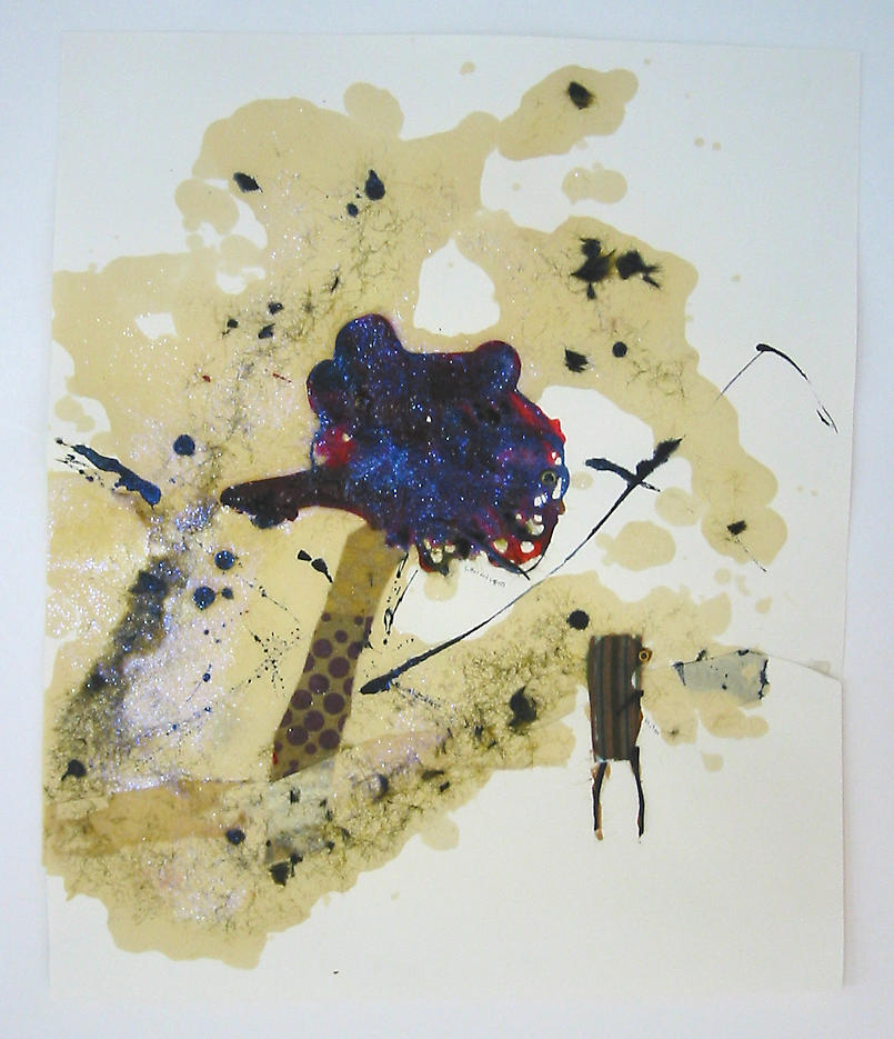 Suffer and suppress…let it go				 2002 mixed media on paper 18 x 21.25 inches/45.7 x 54 cm