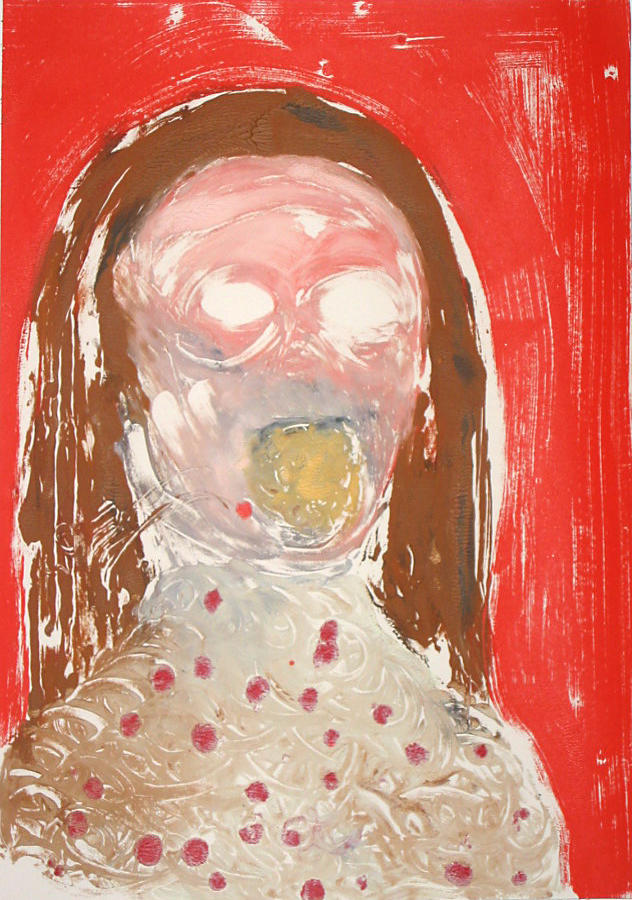 Self Portrait Singing 2002			 acrylic on paper 20 x 14 inches/50.8 x 35.6 cm