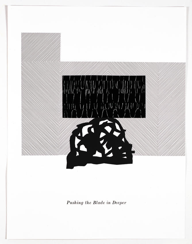 Pushing the Blade in Deeper 2006 letterpress  on paper framed: 36.22 x 28.15 inches/92 x 71.5 cm