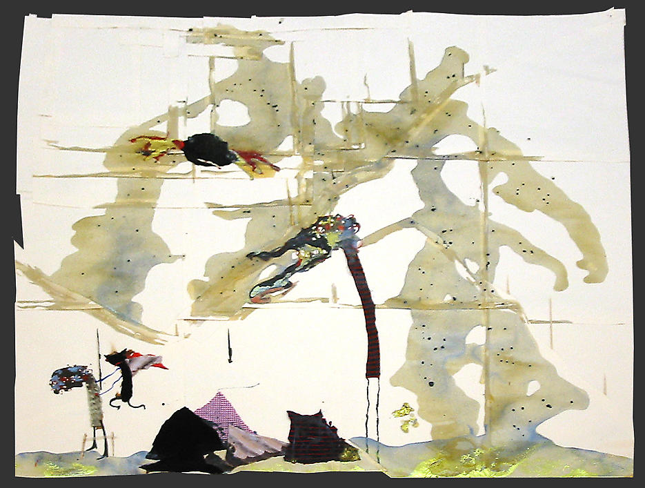 Untitled							 2003 mixed media on paper 61 x 68.5 inches/154.9 x 174 cm