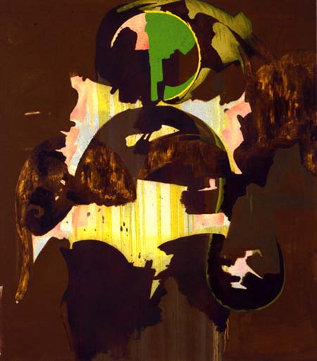 Charline von Heyl: Untitled (2/96 II) 1996 oil and acrylic on canvas 63 x 55 inches/160 x 139.7 cm