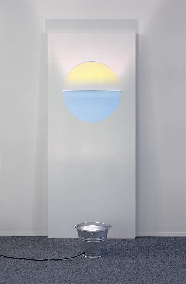 Olafur Eliasson: Sunset Door 2006, edition of 15, 2 AP wooden door panel with color effect filter and light 28.68 x 35.43 x 4.72 inches/210 x 90 x 12 cm