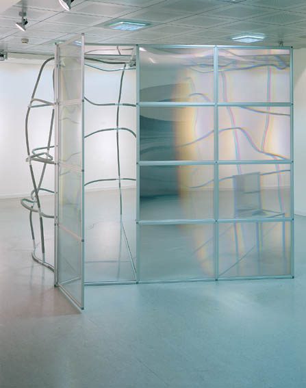 Loris Cecchini Density Spectrum Zone 1.0 (Monologue patterns) 2002 aluminium, plexiglass, 3M optical lighting film, wood, pvc