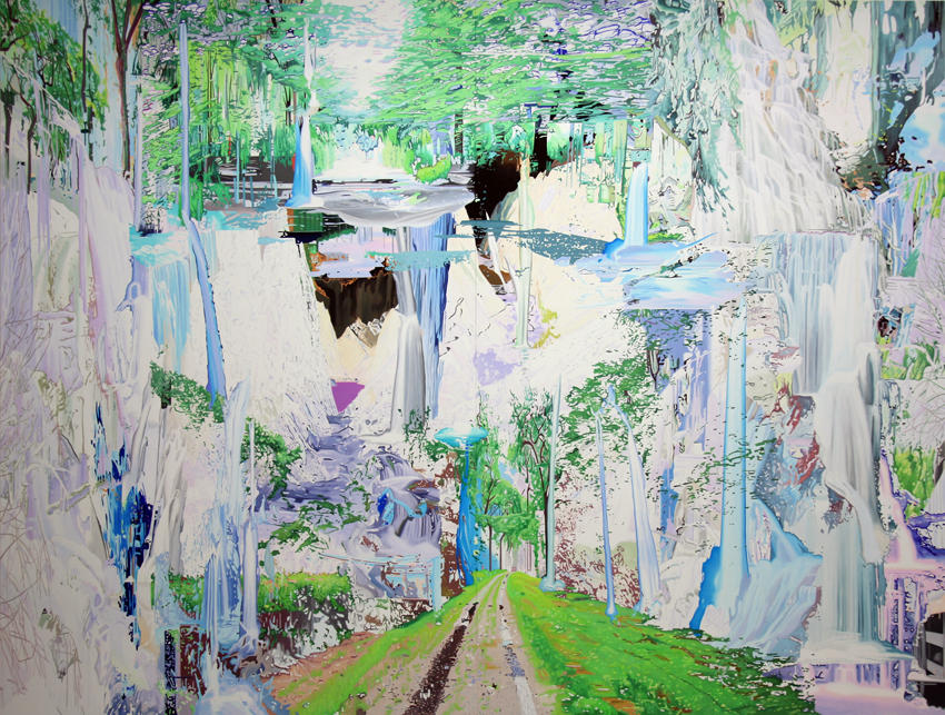 Llanganuco Falls 2008 oil on wood 117.32 x 153.54 inches/298 x 390 cm
