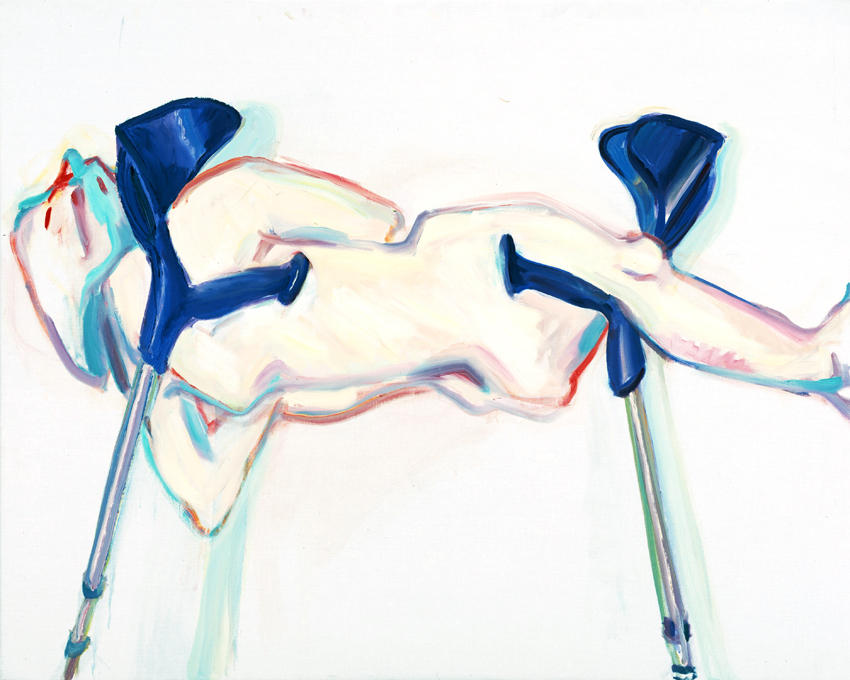 <i>Untitled (Horizontally on Two Crutches)</i> 2005 Oil on canvas 49.21 x 39.37 inches
