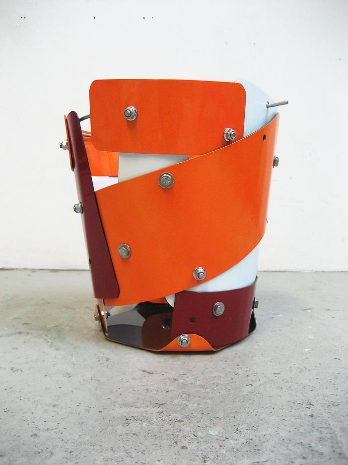 Jim's bucket of disappointment. 2008 epoxy paint on street signs, stainless steel bolts, galvanized steel rod