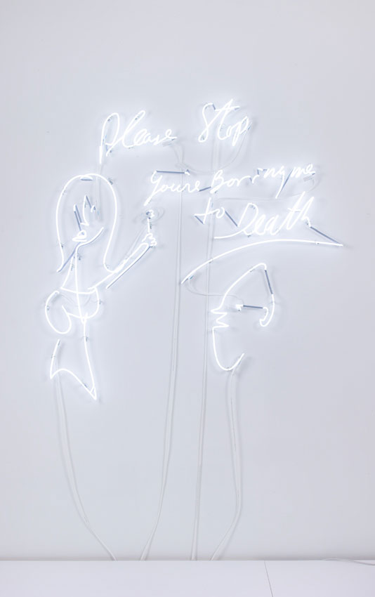 <i>Please Stop You're Boring Me to Death</i> from the series <i>Visitors</i> 2012 Neon 60 x 60 x 2.5 inches