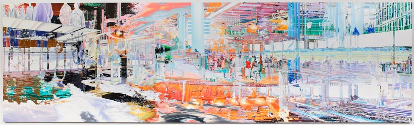 Bibliotheque/CDG-BSL 2011 Oil on wood 83.07 x 284.65 inches 211 x 723 cm