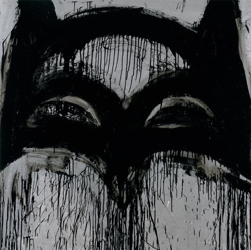 <i>Batman I</i> 2011 Enamel and metallic paint on linen 48 x 40 inches 121.9 x 101.6 cm
