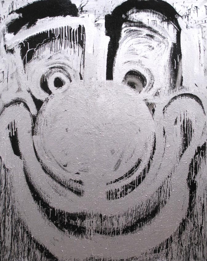 <i>Silver Clown</i> 2011 Enamel and metallic paint on linen 90 x 72 inches