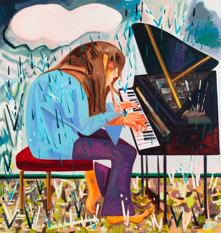 <i>Piano in the Rain</i> 2012 Oil on canvas 88 x 84 inches