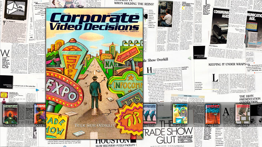 Simon Denny Corporate Video Decisions Double Canvas (Trade Show Overkill?)