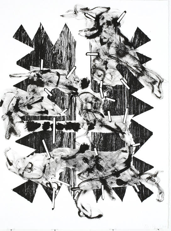 Untitled 2007 woodcut, ink on paper 30.125 x 22.5 inches/76.5 x 57.2 cm