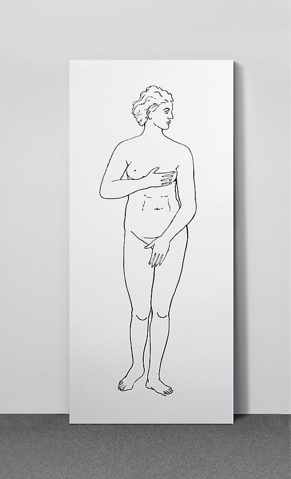 Katharina Fritsch: Lexikonzeichnung (2. Serie: Mensch) 2006, edition of 15, 3 AP screenprint on both sides of an Amphilbolin primed wooden door panel 78.75 x 35.5 x 1.5 inches/200 x 90 x 4 cm