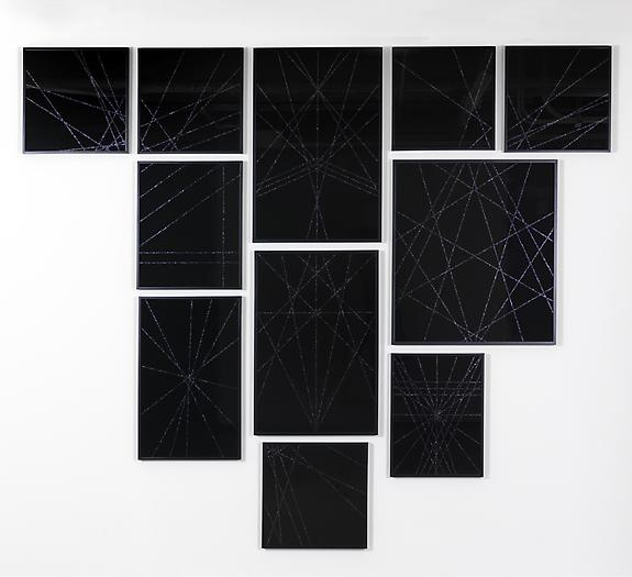 Untitled (Black Geometric II), 2008-09 Enamel, glitter, glass, in 11 parts 100 x 118 inches 254 x 299.7 cm