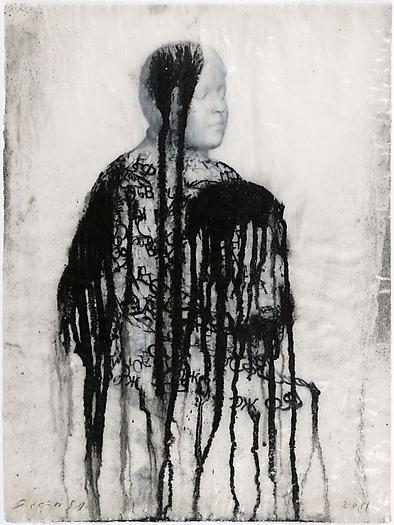 Veiled Shadow XXXV, 2011 Mixed media on paper 16 1/2 x 11 3/4 inches 42 x 30 cm