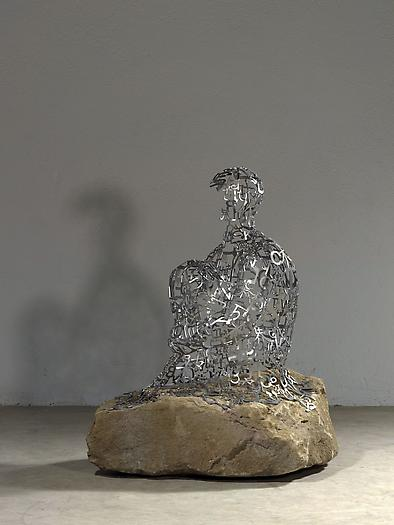 The Hermit II, 2011 Stainless steel and stone 37 3/8 x 26 3/4 x 34 5/8 inches 95 x 68 x 88 cm