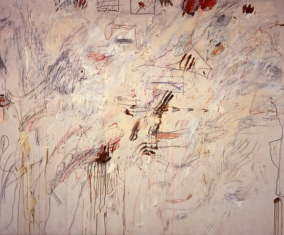 Untitled (Roma), 1961 Oil paint, oil based house paint, wax crayon and lead paint on canvas 78 1/3 x 95 in. 198 x 241.3 cm