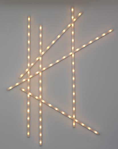 Untitled (Light Bars), 2008-2009 Wood, stain, light fixtures, bulbs 112 x 83 x 3 inches 284.5 x 210.8 x 7.6 cm