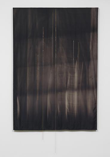 Untitled (Black Fabric with Chains), 2008-2009 Solarized satin, gold chain, wood 84 x 57 x 3 inches 213.4 x 144.8 x 7.6 cm
