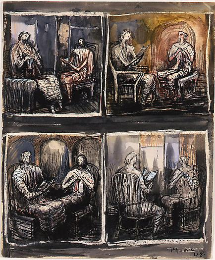 Four Couples, 1948 Watercolor and ink on paper 11 1/2 x 9 1/2 in. 29.2 x 24.1 cm