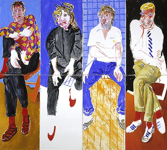 David, Celia, Stephen & Ian, London 1982, August 1982 Acrylic on 8 canvases 72 x 81 in. 182.9 x 205.7 cm